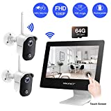 【100% Wire-Free】 Rechargeable Battery Camera System,SMONET 4CH 1080P All-in-One 9' Touched LCD Monitor&2pcs 2MP Outdoor Wireless Security Cameras,2-Way Audio,Motion Detection for CCTV Kits,Free APP