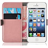 JAMMYLIZARD [ iPhone 5 / 5s and iPhone SE Case ] Luxury Edition Leather Premium Wallet Cover, Peach Pink