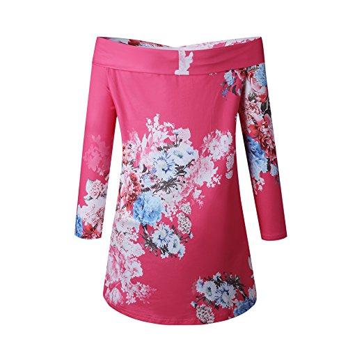 Floreali Maniche Lunghe Top Rossa Lunghe a Rosa Camicetta Allentata Shirt a Casual Maniche da Camicie Donna T Streetwear Sexy Camicetta g8YqnY