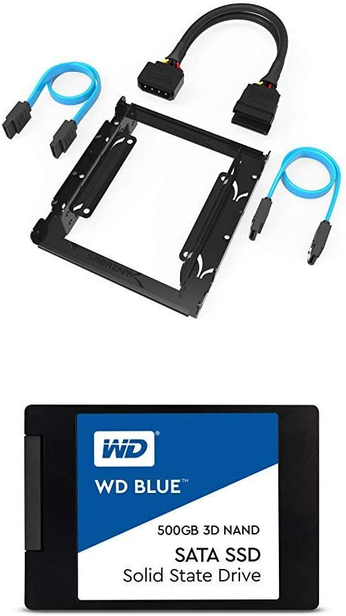 "Sabrent 3.5-Inch to x2 SSD / 2.5-Inch Internal Hard Drive Mounting Kit [SATA and Power Cables Included] (BK-HDCC) + WD Blue 3D NAND 500GB PC SSD - SATA III 6 Gb/s, 2.5""/7mm - WDS500G2B0A"