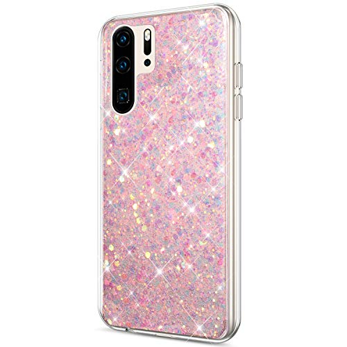 Price comparison product image ikasus Case for Huawei P30 Pro Case Glitter Bling Crystal Sparkly Shiny Bling Powder 3D Diamond Paillette Slim Glitter Flexible Soft Rubber Gel TPU Protective Case Cover for Huawei P30 Pro, Pink