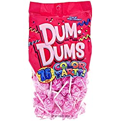 Hot Pink Dum Dums Color Party - Watermelon Flavored - 75 Count Bag - 12.8 ounces - Includes Free How To Build a Candy Buffet Guide