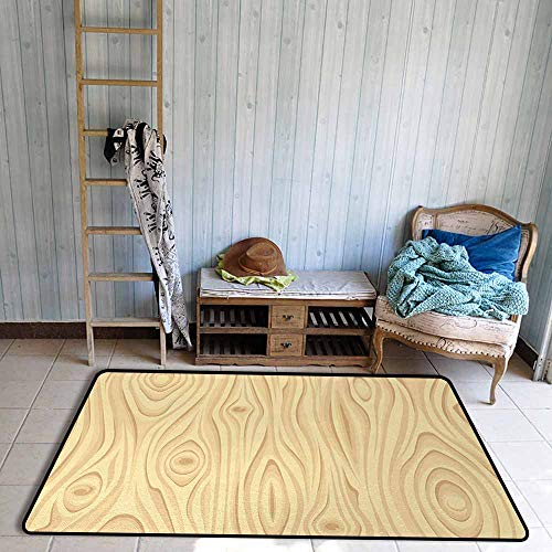 Bath Rug 3D Digital Printing pad Beige Wooden Texture Pattern Grains of Wood Natural Tree Growth Lines of Nature Organic Theme Hard and wear Resistant W63 xL94.5 Cream