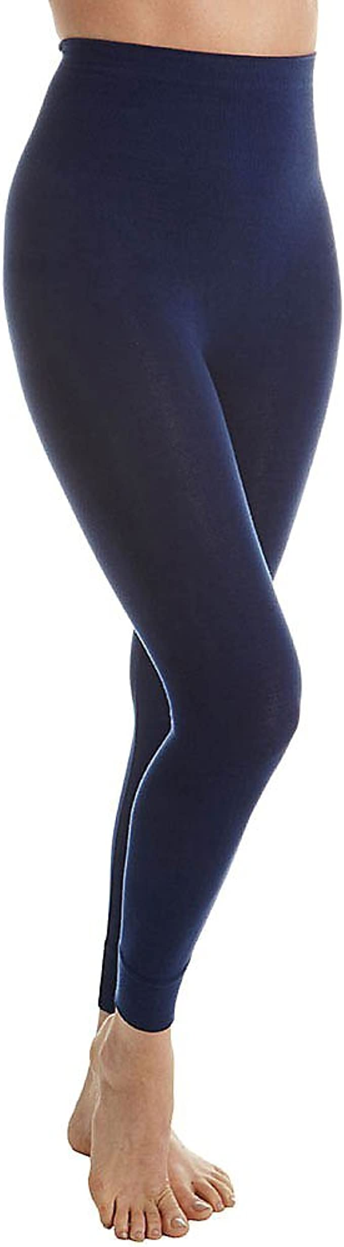 RHONDA SHEAR Size 3X High-Waist Cotton-Blend Shaping Leggings BLACK