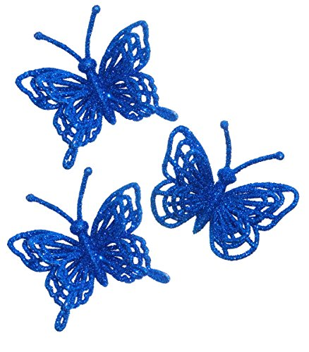 Homecoming Mums (ACI PARTY & SPIRIT ACCESSORIES 3d Glitter Butterfly Embellishment, Royal Blue , Set Of 3)