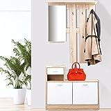 IDMarket - Meuble vestiaire d'entrée décor hêtre portes blanches avec miroir