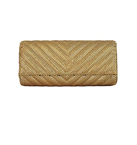 Whiting & Davis Quilted Chevron 1-5858 Evening Bag,Gold,One Size by Whiting & Davis