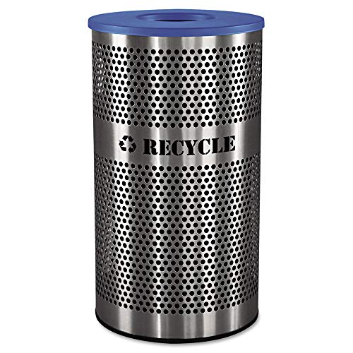 (Ex-Cell Kaiser VCR-33 PERF SS Venue Collection Outdoor Perforated Stainless Steel Recycle Receptacle, 33 Gallon Capacity, 18-1/4