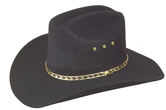 98ed087c Sunrise Outlet Kids Black Faux Felt Cowboy Hat with Gold Lining Band - 6