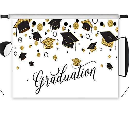 LB Graduation Backdrop Class of 2019 Black and White Gold Girls Boys Graduation Cap Photography Backdrop Photo Booth Background 7x5ft Studio Props Vinyl Customized -