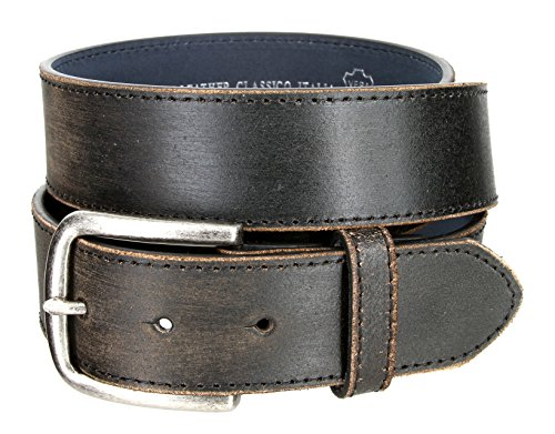 - Vintage Style Distressed Genuine Leather Casual Jeans Belt 1-1/2