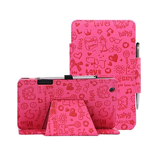 i-UniK AT&T TREK 2 HD Case (2016) Model #6461A 8 inch Tablet Support Sleep Awake Function Cover Case with Bonus Stylus (Cute Pink)