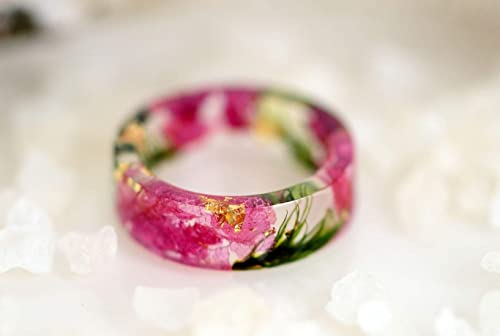 Real Green Petals Inside Nature Inspired Jewelry Ring Band Fern Resin Ring with GoldSilverCopper Flakes