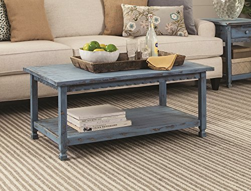 Rustic Rectangluar Coffee Table with 1 Shelf, Blue Antique