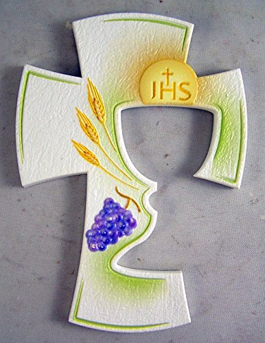 Boy First Communion Cut Out - First Communion Textured Wall Cross with Chalice Cutout, 5 1/2 Inches