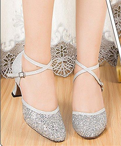 Comfort Tango Ballroom Heel Women's 7cm Silver Latin Glitter Joymod Dance MGM Synthetic Shoes Modern x4SRZKw