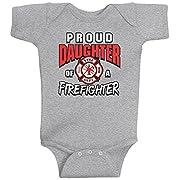 Threadrock Baby Girls' Proud Daughter of a Firefighter Infant Bodysuit 6M Sport Gray