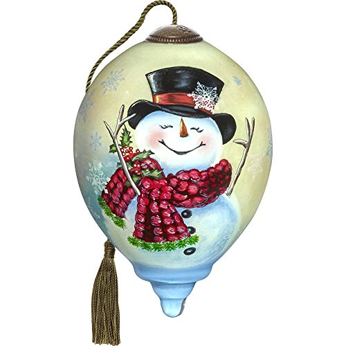 'Qwa Art 7171126 Hand Painted Blown Glass Petite Princess Shaped Joyful Jolly Snowman Ornament, 3-inches (3 Inch Snowman)
