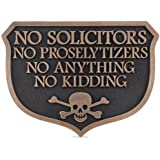 Solid Brass No Soliciting /'No Solicitors/' Sign Trespassers Will Be Eaten Danger