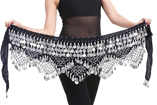 [Women Belly Dance Wrap Gypsy Skirts with Coins Sequins Hip Scarf Black & Silver] (Made To Measure Belly Dance Costumes)