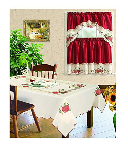 All American Collection New 3pc Embroidered Fruits Kitchen Curtain Set and Tablecloth Sold Seperately (Tablecloth 60