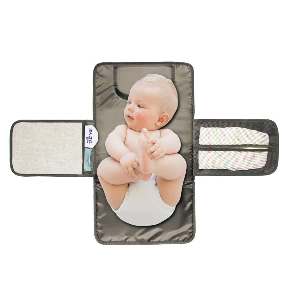 Zoda Baby Portable Diaper Changing Pad Travel Diaper Changer Mat for Home,Travel & Outside,Waterproof Diaper Changing Station with Head Cushion,Mesh Pockets,Lightweight and Foldable Changing kit