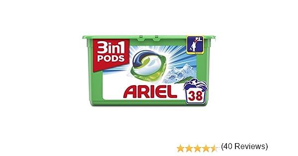 Ariel 3en1 Pods Detergente Cápsulas, Alpine, Limpieza Increíble, Limpia, Quita Manchas, Ilumina - 38 Lavados