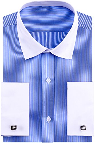 Stripe Cuff Shirt - Alimens & Gentle French Cuff Regular Fit Contrast White Collar Dress Shirts,Bold-Stripe,17.5