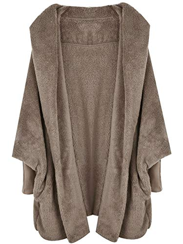 SweatyRocks Women's Khaki Hooded Dolman Sleeve Faux Fur Cardigan Coat for ()