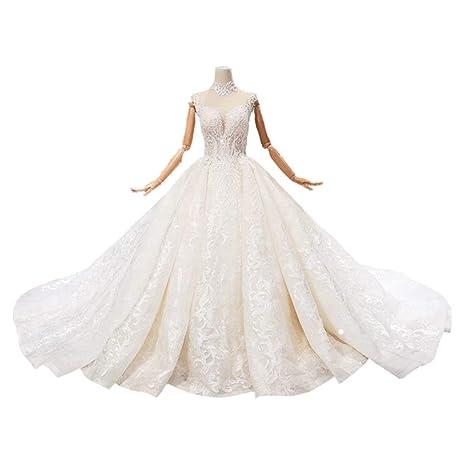 Wfhhsxfh High Neck Hand Applied Halter Wedding Dress High