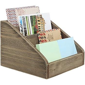 Handcrafted Magazine Rack, 2 Sided Desktop Organizer ...  Desktop Mail Organizer For Kitchen