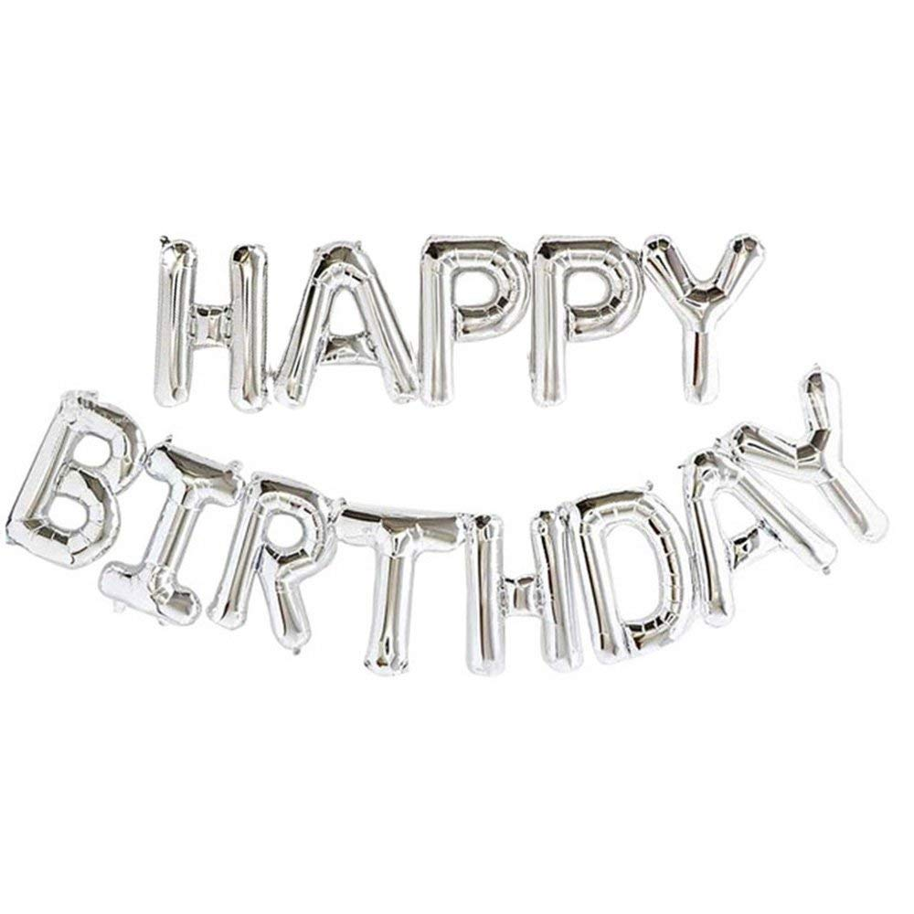 Self Inflating Happy Birthday Banner Balloon Bunting Silver 16 inch Letters Foil unbranded