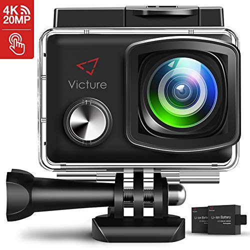 Victure 4K Action Camera 20MP WiFi 2 inch Touch Screen Camcorder EIS Waterproof 30M Underwater Sports Cam with Adjustable Wide Angle 2X1350mAh Rechargeable Battery and Mounting (Best Action Camcorders)