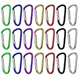 Freehawk Aluminum D Shaped Carabiner Keychain Spring Snap Clip Carabiner Hook Multipurpose For Camping/Hiking/Fishing/Traveling or As A Hanger (21PCS Colorful)