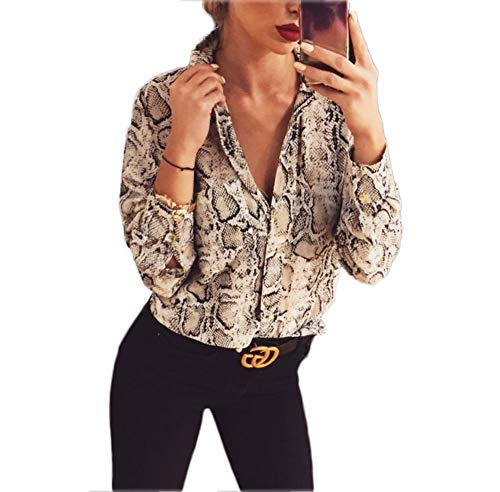 Womens Casual Long Sleeve Button Down T Shirt Loose Animal Leopard Snake Print Blouse Tops (Snake, ()
