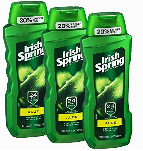 Irish Spring Body Wash, Aloe, 18 Ounce (Pack of 3)