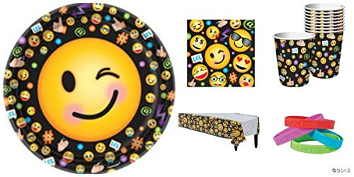 Funny Emoji Faces Birthday Party Tableware Pack for 16