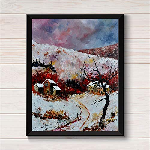 YHDAMAI Over Village Winter Scene Frameless Wall Art Posters Canvas Oil Painting for Home Decor Collectable Fl7