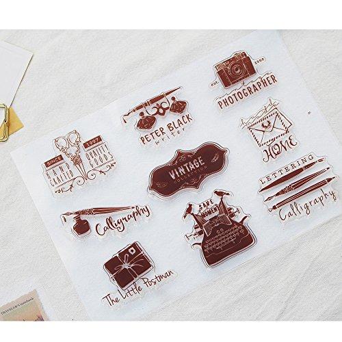 - Vintage Collection Postcard Letter Scrapbook Ink Rubber Clear Stamp Set For DIY Card Making