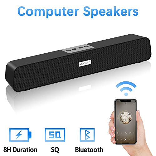 Computer Speakers, Bluetooth Speakers Computer Sound Bar, USB Powered Multifunctional Home Theater Desktop Soundbar Speaker with 10W Dual-Driver Stereo Sound, Rich Bass, 32 ft Bluetooth Range, Bulit-in Mic, 8H Playtime for PC Cellphone Desktop Computer Tablets Laptop