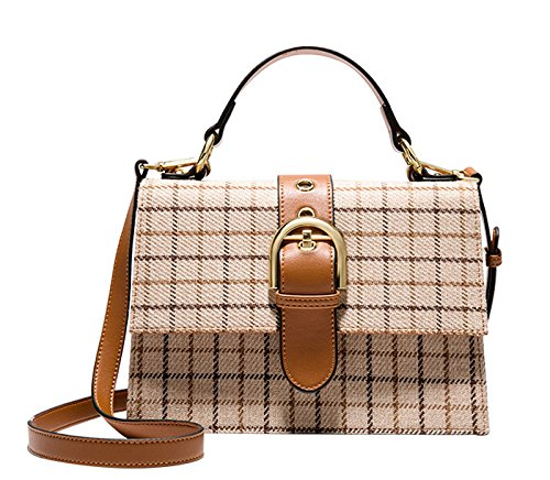 Pu Handbag Women Messenger Laptop Bag Strap Bag Long Leather Retro Street Plaid Leisure Tourism Work Yellow Ginger