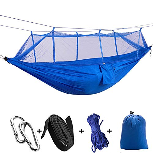 JIA-WALK Portable Mosquito Net Parachute Hammock Outdoor Camping Hanging Sleeping Bed Swing Portable Double Chair Double Person Hammocks,Blue