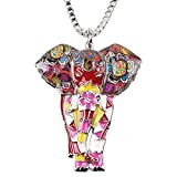 BONSNY Signature Africa Wildlife Collection SUNRISE Jungle Safari Wild Elephant Large Statement Enamel Pendant Necklace (Red)