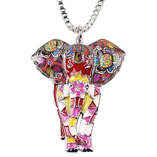 (BONSNY Signature Africa Wildlife Collection SUNRISE Jungle Safari Wild Elephant Large Statement Enamel Pendant Necklace (Red))