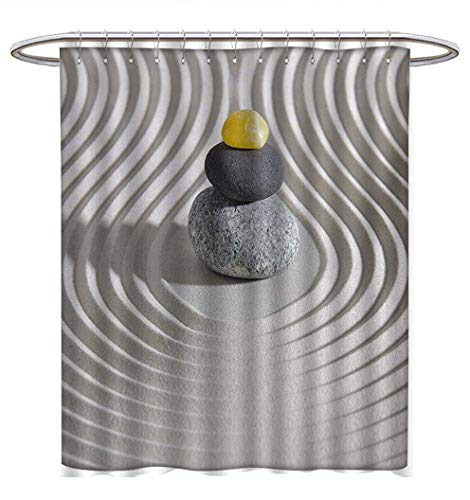 3 Asha Stone - Anhuthree Spa Shower Curtain Collection by Three Hot Massage Stones in The Middle of The White Sand Shaped Waves Artwork Satin Fabric Sets Bathroom W69 x L75 Grey and Yellow