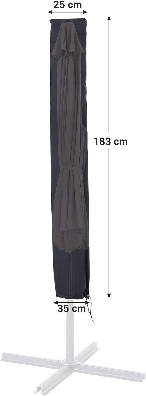 Anti-Sbiadimento Cerniera Tessuto Oxford 600D Impermeabile 183 x 25//35 cm Nero GFC183BK Telo Protettivo per Ombrelloni Fino a 3 m SONGMICS Copertura Ombrellone con Bacchetta