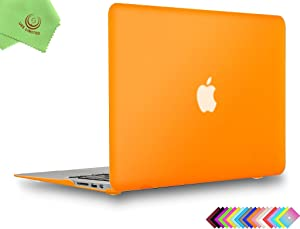 UESWILL Smooth Matte Hard Shell Case Cover for 2010-2017 Release MacBook Air 13 inch (Model A1466 / A1369) + Microfibre Cleaning Cloth, Orange