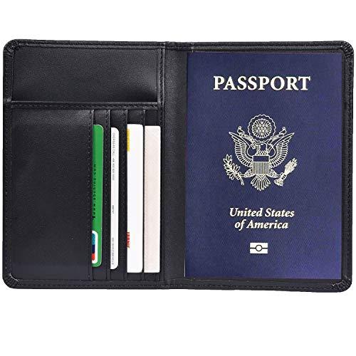 RFID Blocking Leather Passport Holder Cover & Travel Wallet ID Card Case (Black)
