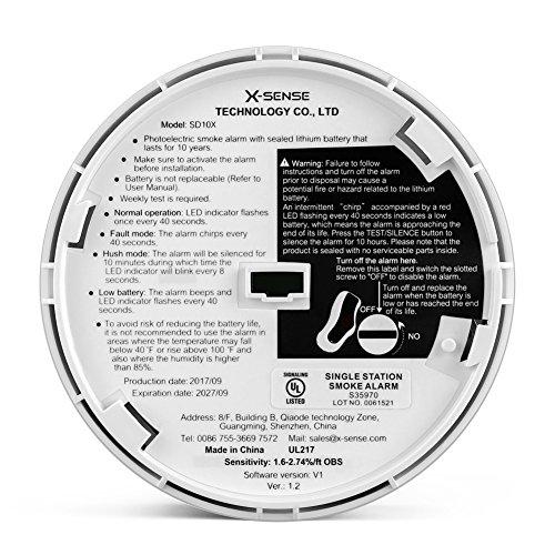 X-Sense SD10 X 10-Year Battery Smoke Detector Fire Alarm with Photoelectric Sensor (5-Pack) by X-Sense (Image #5)