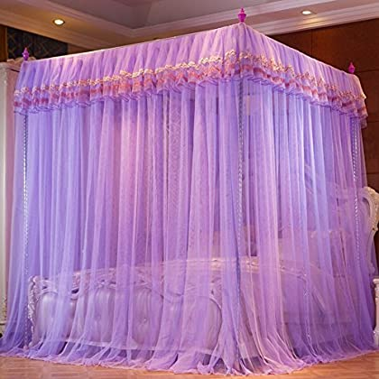 Image of Home and Kitchen WENZHANG Princess bed canopy,European suspended ceiling mosquito net floor korean gauze palace netting bedding-B Twinch2